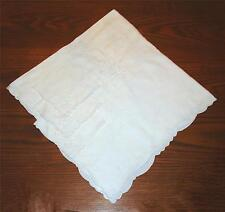 VTG. 50's IVORY LINEN EMBROIDERED FLORAL CUT-WORK TEA TABLECLOTH & 3 NAPKINS SET