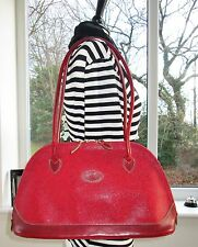 STUNNING! AUTHENTIC MULBERRY RED SCOTCHGRAIN & LEATHER BRETON SHOULDER HAND BAG