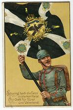 AK Infanterie Soldat mit Regimens Fahne Preussen