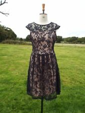 DOROTHY PERKINS Black Net Overlay Stretch Dress Lined in Nude UK 14 BNWT RRP £30