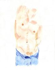 Painting, NUDE male JEANS 1/7/50 #ArtofEsteban Watercolor