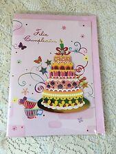 Spanish Greeting Card Feliz Cumpleanos Cake Butterflies Stars Bows Cups New