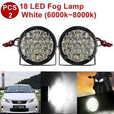 2PCS 18 LED Car DRL Driving Round Daytime Running Light Head FOG Lamp Bright GA