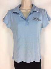 Harley Davidson Polo Golf Shirt Women's M Medium Light Blue Collar Snap Texas