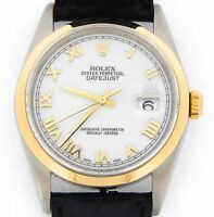Rolex Datejust Mens 2Tone 18K Gold Stainless Steel Black White Roman Dial 16203