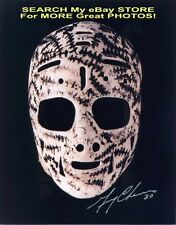 ST+TCHES+ MASK! SIGNED by HOFer Gerry CHEEVERS Boston BRUINS Custom 8X10 NICE !!