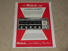 Beautiful McIntosh C20 Tube Preamp Ad, 1960, 1 pg, Article, Frame This!
