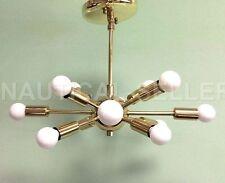 Mid Century 12 Light Polished Brass Sputnik chandelier starburst light Fixture