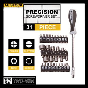 31Pc Precision Screwdriver Bits Set Nut Driver Setter Hex PC Key Phone Slot AU