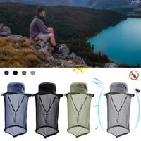 Mosquito Head Net Hidden Mesh Protection Bugs Bees Neck Face Cap Hiking Fishing