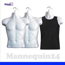 3 Mannequin Male Torsos - 3 White Plastic Men's Hanging Dress Forms with 3 Hooks