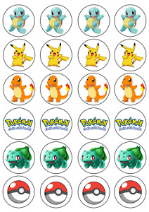 24 x Pokemon Edible Cupcake Toppers Wafer Icing Decorations