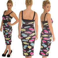 SCUBA WIGGLE PENCIL DRESS  VINTAGE CARS ROCKABILLY ALTERNATIVE