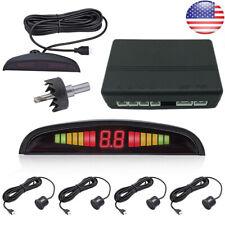 Black Car Parking Sensor System Reverse 4 Sensors+LCD Display Audio Buzzer Alarm