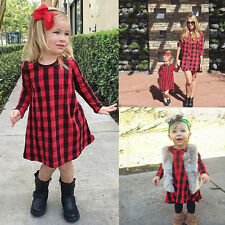 UK Stock Cotton Baby Kids Girl Dress Checked Party Princess Formal Dresses Skirt