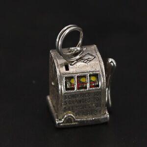 Sterling Silver - Mechanical Casino Game Slot Machine Bracelet Charm MOVES - 5g