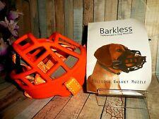 Barkless Silicone Basket Dog Muzzle ~ Size 4 ~ Orange ~ New / Fast Shipping