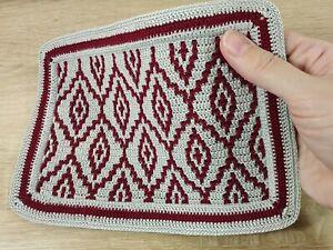 Knitted dollhouse rug for dolls 1/6 scale, crochet doily, dollhouse