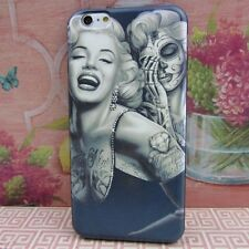 Marilyn Monroe #Skull Rubber+Leather Cover Case for Apple iPhone 6 Plus 5.5""