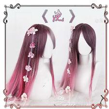 Japanese Sweet Lolita Harajuku Purple Gradient Long Straight Fairy Cosplay Wig