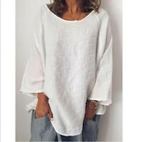 Womens Blouses Loose Tops Long sleeve Neck New Flax Comfort Cotton Linen Solid