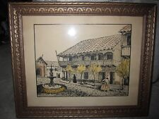 Vintage framed ink drawing, Italian piazza w fountain, pencil signed by artist