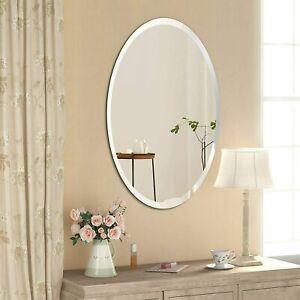Frameless Unframed Bathroom Mirror with hooks hanging 2 way Bevelled corner