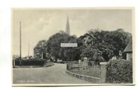 Aldham Corner, Essex - road, church, car - old postcard