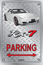 Parking Sign Metal Mazda RX-7 Series 6 - White with Factory Rims - Checker Look