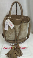 Authentic See By Chloe Vicki Shearling Leather Bucket Bag MSRP $595 New