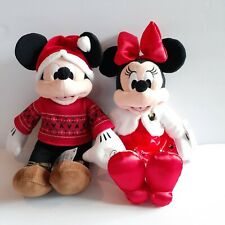 Disney Collection Minnie & Mickey Mouse Holiday Plush Christmas New