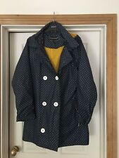 Fun blue & white polka dot Target Dry Hooded jacket rain mac 14/16 M