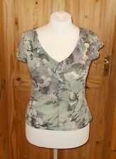 1MAX  olive green lilac floral stretch chiffon frill short sleeve tunic 16 44
