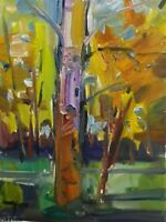 "JOSE TRUJILLO ORIGINAL OIL PAINTING Landscape Tree Trunk Park MODERN ARTIST 14"""