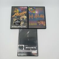 Lot of 3 DVD Def Leppard Historia, Poison Seven Days Live, Megadeth Video Hits