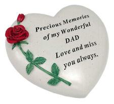 Dad Large Memorial Grave Plaque Heart Stone Rose Flower Garden Ornaments Tribute