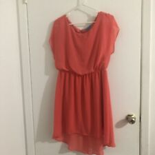 Buttons Coral Short Sleeve Ruffle Dress Large