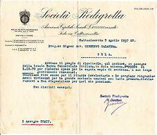 SOCIETA PIEDIGROTTA - MOLINI E PASTIFICI A VAPORE - CALTANISSETTA 1937