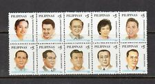 Philippine Stamps 2002 Presidents of the Republic (Roxas to Arroyo) Block of 10