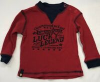 Lucky Brand Baby Boys 12 Months Red Waffle Weave Shirt with Lucky Legend Logo