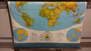 "Vintage George Cram School Pull Down World Map & Metal Bracket 53"" x 51"""