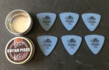 6 X TORTEX Dunlop USA 1.0mm In A FREE Handy Pick Tin. New Blue Triangle Picks
