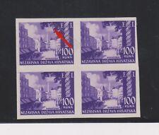 CROATIA,WW II,100 kn FI,imperforated bloc of 4 no gum  ,ENGRAWER H ,RRR