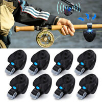 4/8x Electronic LED-Light Fish Bite Sound-Alarm Alert Bell Clip Fishing Rod Tool