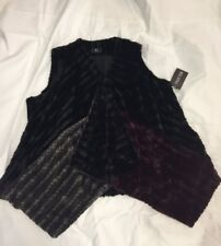New Giuliana Faux Fur Vest Plus 2x 22/24 Swag Color Block Purple Black Grey NWT