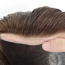 Natural Mens Hair Replacement System Thin Poly Skin Toupee Unit Hairpieces