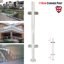 UK 110cm Stainless Steel Balustrade Railing Post Grade Glass Clamps Fencing