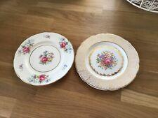 pair of vintage decorative plates floral design