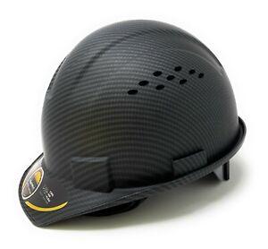 Cap Style Hard Hat, Vented, 6-Point Ratchet Suspension, Mate Black