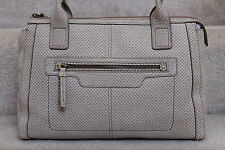 New Fossil Genuine Suede Leather Beige & TanTop Zip Satchel Bag NWT $218 #8